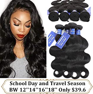 Bfary Hair Peruvian Hair Body Wave 4 Bundles, 70Gram/Piece, Totally 280Gram(12'' 14'' 16'' 18'',Natural Color), 8A 100% Unprocessed Peruvian Virgin Human Body Wave Bundles, Hair Weft for Black Women