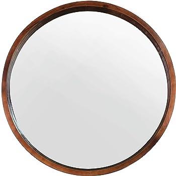 """Mirrorize Mina Decorative Modern Wood Frame Round Mirror, 30"""" Diameter, Walnut Brown"""