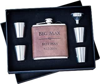 Custom Engraved Hip Flask Set, Personalized Dark Brown Leather Flasks Groomsmen Gift- Box Set- Groomsman Whiskey Gifts For Men, Rustic Customized 6 oz #304 Steel 6pc