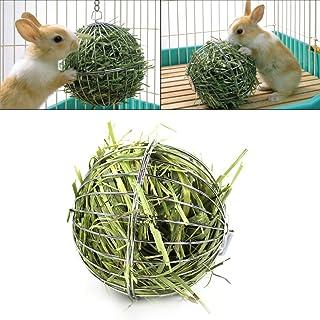 Bola comedero / juguete de acero inoxidable, con gancho para colgar, para conejos, cobayas, hámsteres, animales pequeños