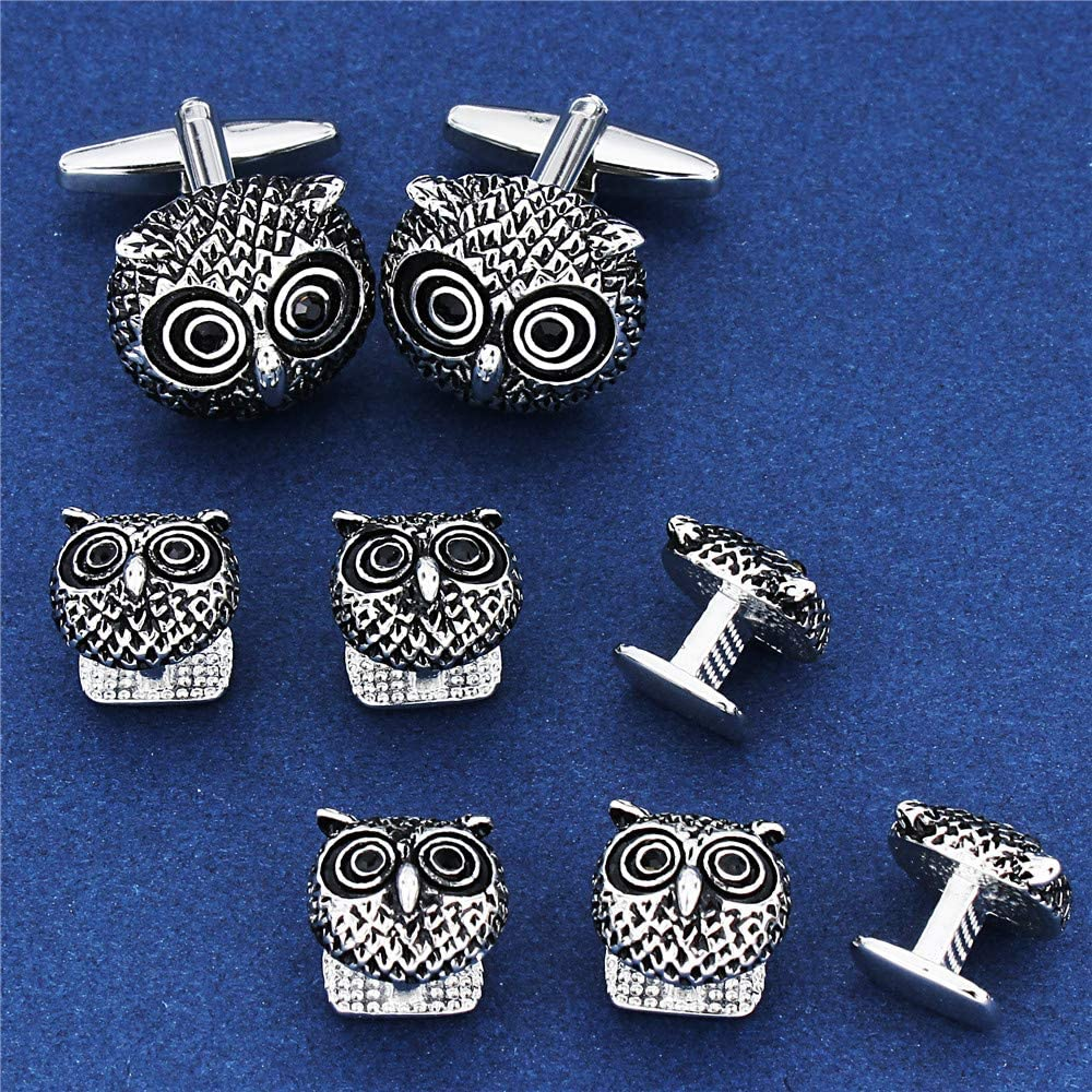 Formal Business Wedding Anniversary Jewelry AMITER Cufflinks and Tuxedo Shirt Studs Set for Men Classic Round Shape Owl and Spider Cuff and Studs