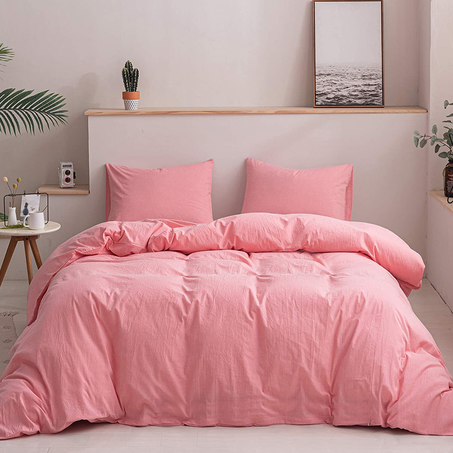 Homcosan 100% Manufacturer direct delivery Washed Cotton Duvet Cover 9 Set Size King 3-Piece Max 81% OFF