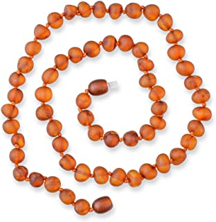 Genuine Raw Amber Necklace - Exclusive Baltic Sea Amber Beads Between Knots - Hand-Assembled in Europe - Premium Natural J...