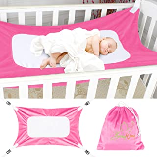 The BabyWay Pink Baby Crib Hammock and in Bed Bassinet | Hanging Mesh Sleep System for Womb Like Comfort | Soft, Breathable Safety Supports Newborn Infants | Storage Bag