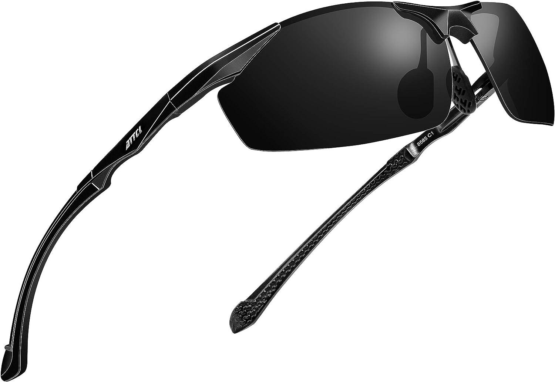 ATTCL Lunettes de Soleil polarisées pour Hommes pêche Sportive Conduite en métal Al-MG Cadre Ultra-léger Noir