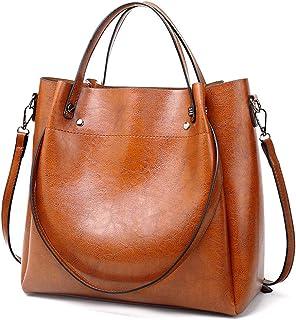 Pahajim Damen Ölwachs Leder Tasche Luxus Schulter Einkaufstasche Einfache Diagonal-Tasche PU Lederhandtaschen Ölwachs-Eink...