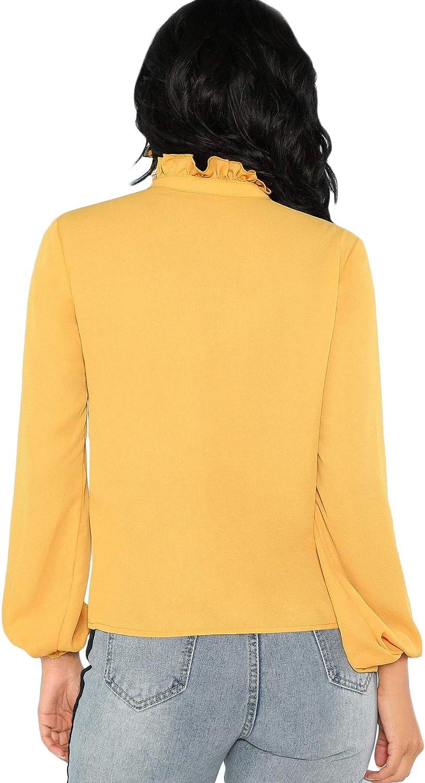 manga larga cuello alto con volantes monocolor DIDK Elegante blusa de gasa para mujer