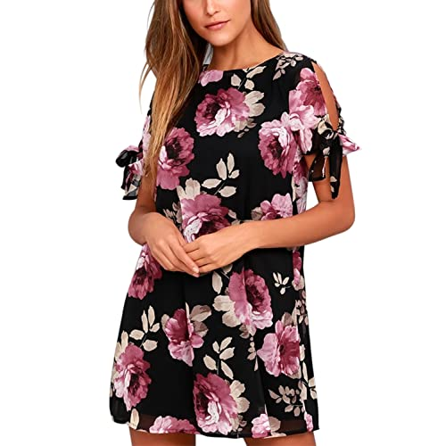 c21a750a863 BMJL Women s Dresses Cold Shoulder Tie Chiffon Floral Print Shift Short  Sleeve Flare Casual Loose Round