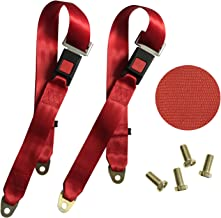 TIHEEN 2 Point Adjustable Seat Safety Belt Harness Kit Single Double Seat Lap Seatbelt Universal for Go Kart UTV Buggie Club Vehicle Truck 54 Inch, 2 Pack (Red)