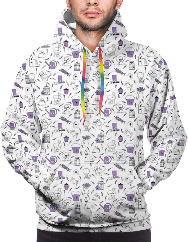 TENJONE Men's Hoodies Sweatshirts,Pattern with Lavender and Garden Accessories Floriculture Theme
