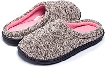 B-BEE Women's Men's House Slippers Knit Two-Tone Bedroom Cozy Antiskid Shoes Winter Slippers for Indoor/Outdoor …