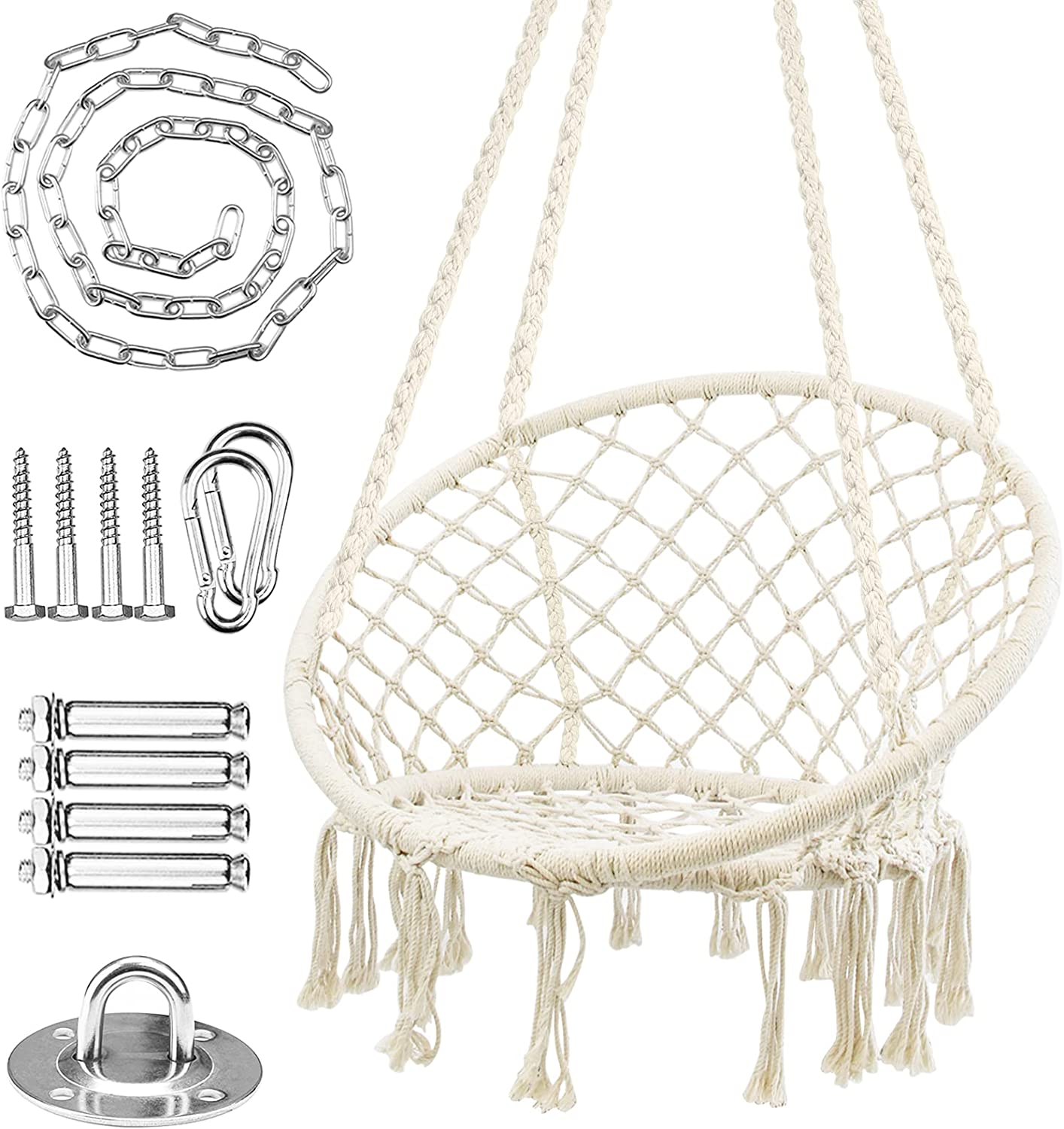 WBHome Hammock Chair Swing Popularity w Fashion Hardware Hanging Kit Rope Cotton M