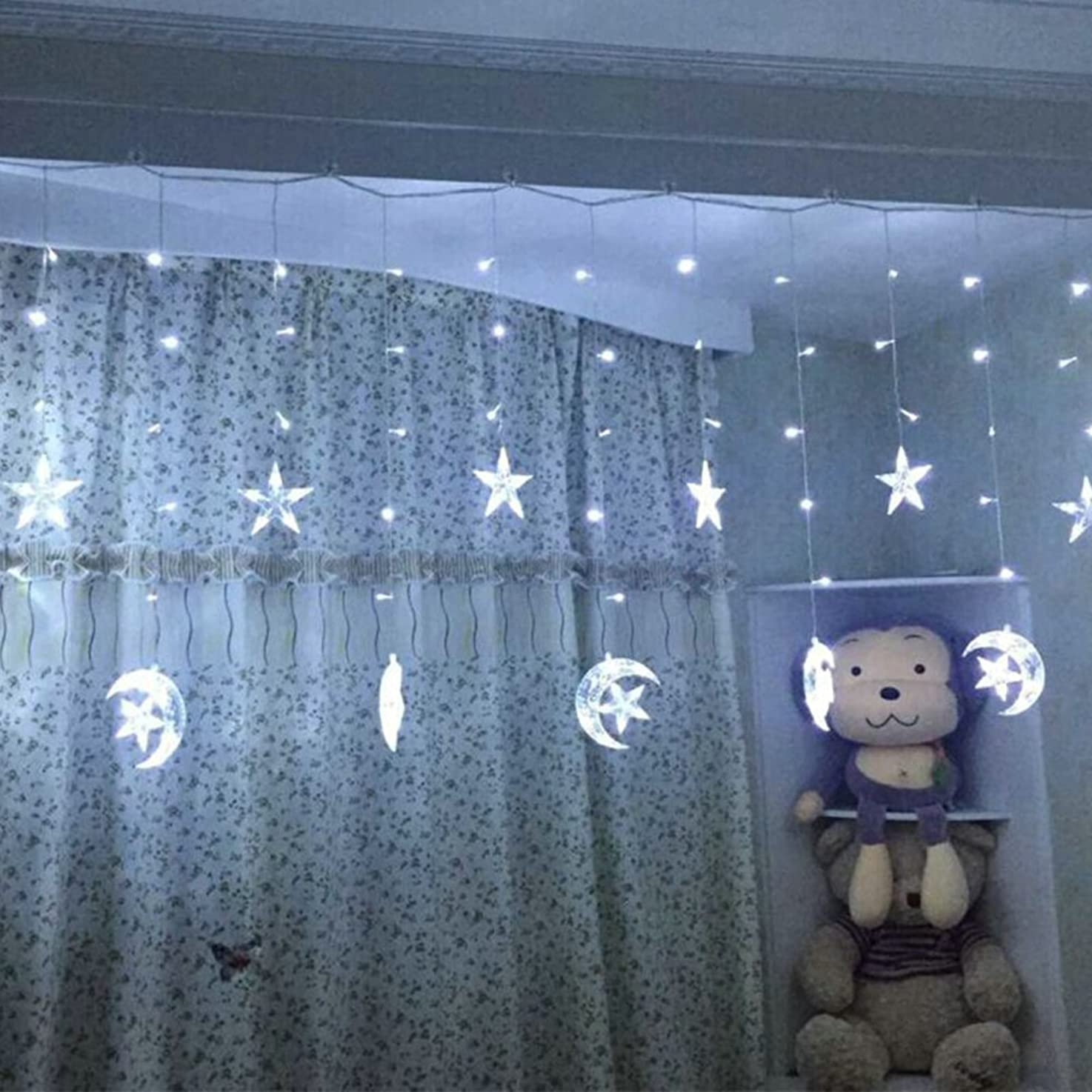 Led Star Curtain Lights, Moon Star String Light 138 LEDs 250CM Length with 8 Modes Plug in Fairy Lights Christmas Window Curtains Light for Party,Wedding,Holiday, Home Decoration (White)