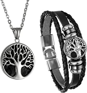 Men Tree of Life Symbol Pendant Necklace Leather Bracelet, Stainless Steel 22 inch Chian Jewelry Set