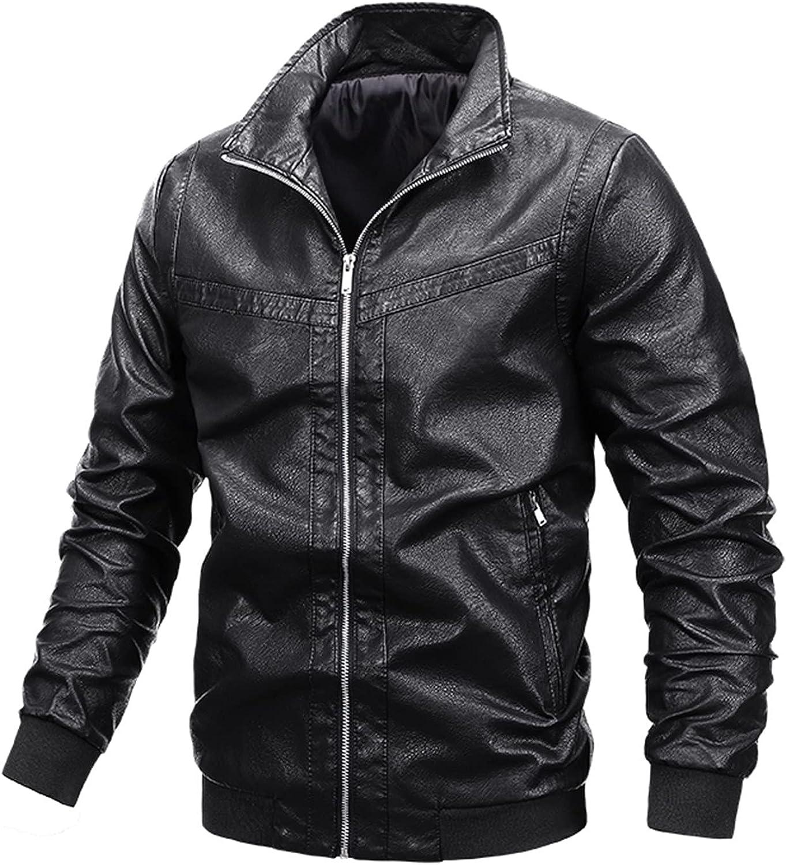 Men's Premium Faux Leather Jacket Casual Sport Baseball Uniform Fashion Long Sleeve Motorcycle Bomber Jacket