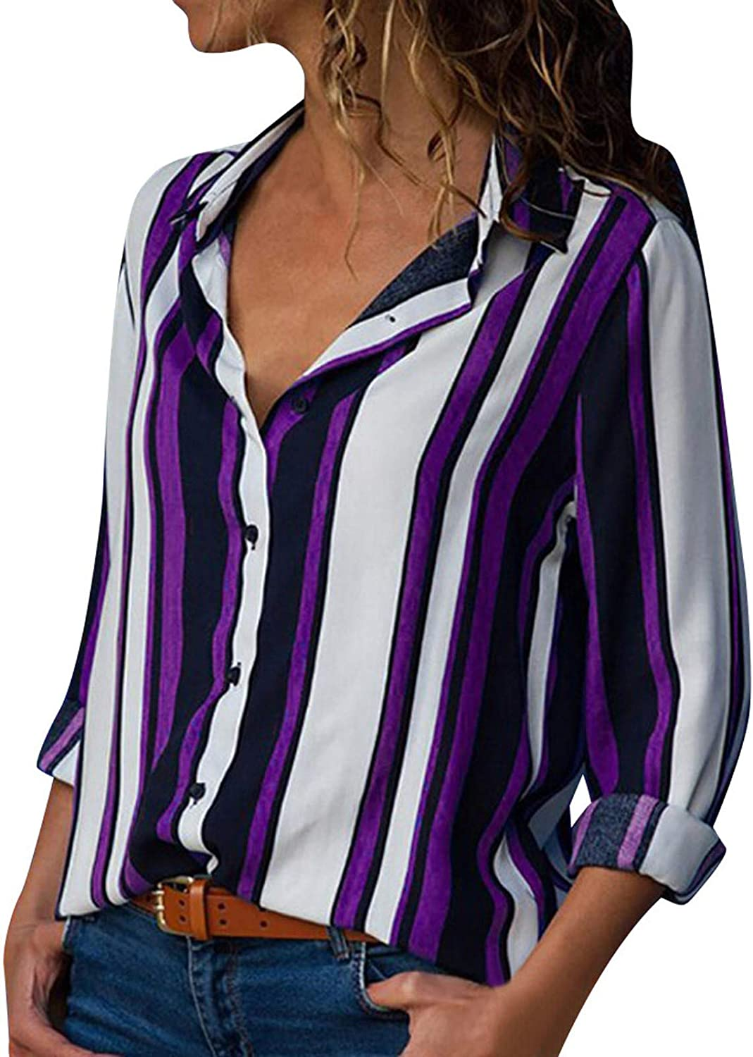 Women Striped V Neck Off Shoulder Bell Sleeve Tie Knot Casual Blouse Shirts Top