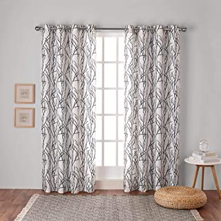 Exclusive Home Branches Linen Blend Window Curtain Panel Pair with Grommet Top 54x96 Indigo EH7996-06 2-96G