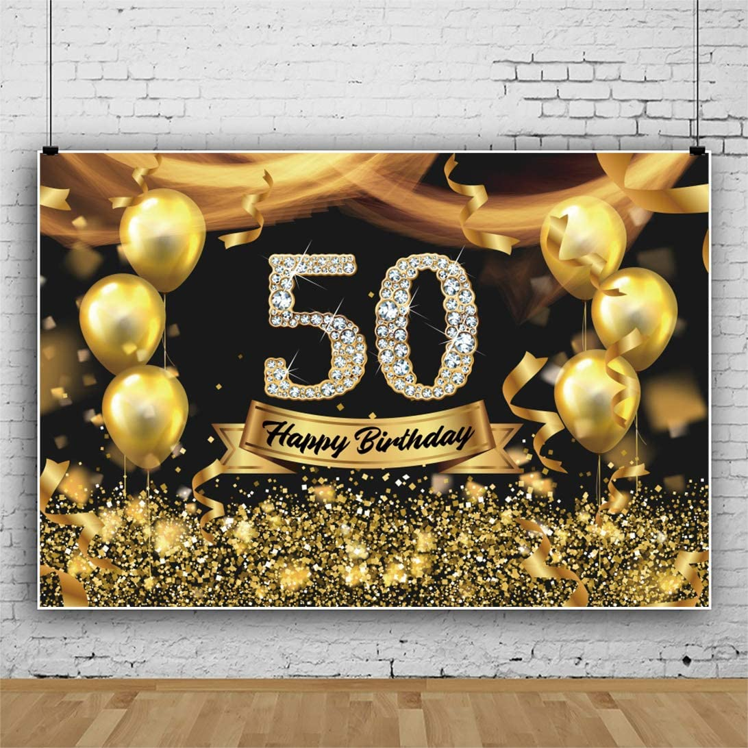 Haoyiyi 5x3ft Gold and Black 50th Birthday Photography Backdrop Adult Golden Glitter Diamonds Shiny Background Fifty Years Old Age Men Women Party Decoration Photo Banner Photobooth Props