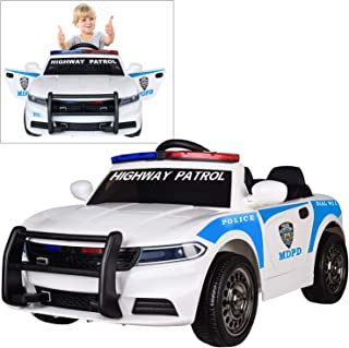 Modern-Depo 12V Highway Patrol Police Ride On Car for Kids with 2.4G Remote Control, Siren Flashing Light, Intercom, Bumper Guard, Openable Doors