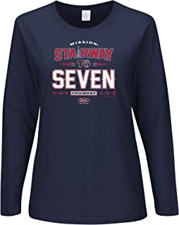 Smack Apparel New England Football Fans. Stairway to Seven. Navy Ladies T-Shirt (Sm-2X)