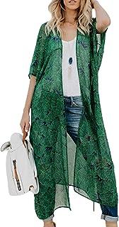 ChainJoy Women's Chiffon Long Kimono Sheer Loose Cardigan Lightweight Breathable Cover ups
