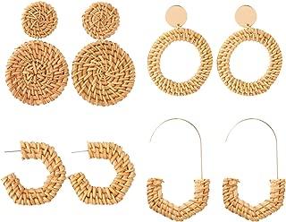 Szory Handmade Rattan Earrings for Women Trendy Statement Earrings