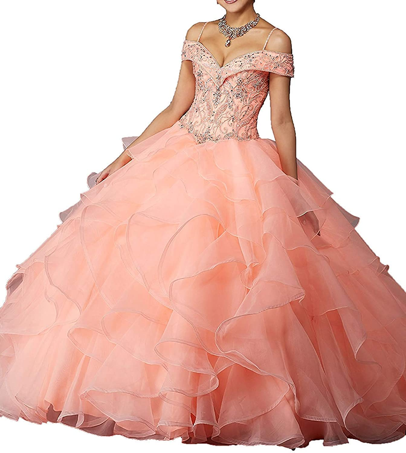 ANFF Juniors Spaghetti Strap Beaded Off Shoulder Prom Party Gowns 2019 Quinceanera Dresses