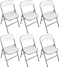 Milani Home s.r.l.s. Set di 6 SEDIE Pieghevoli Slim Bianche OPACHE Struttura Grigia per Interno Sala da Pranzo Salotto Cucina Ufficio
