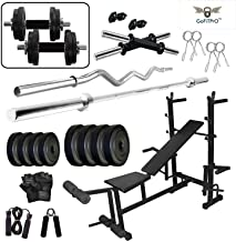 GoFiTPrO 50 Kg Vinyl Weight Home Gym with 8 in 1 Bench (Black Colour)