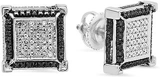 0.15 Carat (ctw) Round Black & White Diamond Micro Pave V Square Shape Stud Earrings, Sterling Silver
