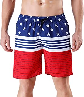 33d314f14e51f QRANSS Men's Quick Dry Swimming Trunks Bathing Suit Shorts Striped Mesh  Liner