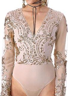 f00d12848505 EVEDESIGN Women s Sequin Sexy Jumpsuits Deep V Neck Long Sleeves BoduSuit  Leotard