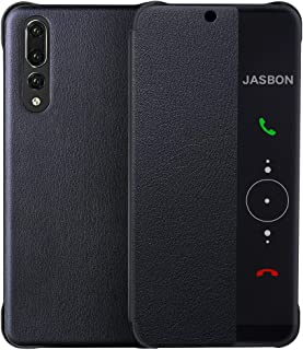 JASBON Huawei P20 Pro ケース 手帳型 ファーウェイ P20 プロ 用 カバー オードスリープ機能付き 財布型 PUレザー 薄型 保護カバー 全面保護 耐衝撃 手触りよい オシャレ シンプル ビジネス(ブラック)