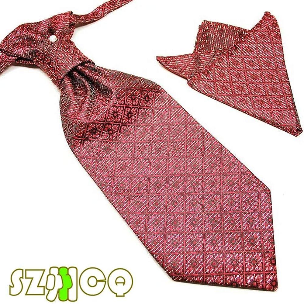 Men's Tie Sets Ascot Floral Pattern Cravat Elegant Handkerchief Tie With Diamond Decoration in a gift box