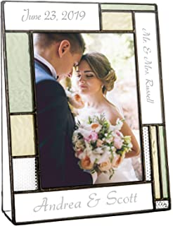 Wedding Picture Frame Personalized Gift for Couple Engraved Green Yellow Glass Table Top Photo Engagement Keepsake J Devlin Pic 430 EP619 (5x7 Vertical)