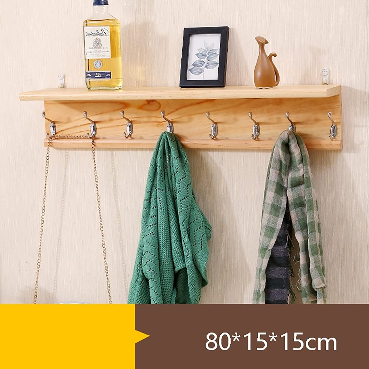 Creative Solid Wood Wall color Coat Rack, Wall Hanging Multi-Purpose Shelf shelter, 3 Size Options (Size   80  15  15cm)