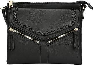 KKXIU | حقائب طويلة تمر بالجسم للنساء | خفيفة الوزن متعددة الجيوب محفظة بسحاب مزدوج | حزام قابل للتعديل | شرابة