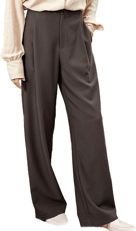 Khaki Pant Suit for Women Solid Color Loose Fit Straight Leg Suit Pant High Waist Wide Leg Zip Up Pants for Casual Work