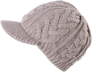 Jeff & Aimy Women's 100% Wool Knit Visor Beanie Newsboy Cap