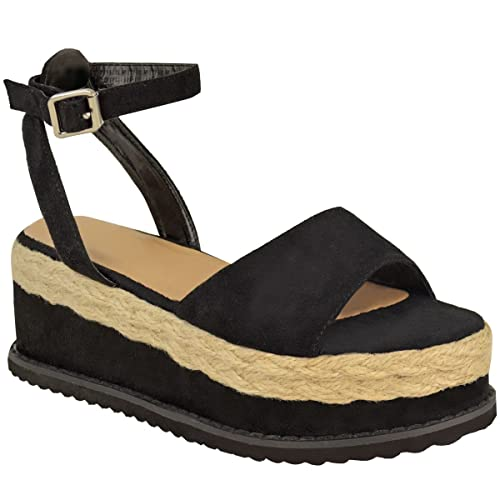 081dbe236 Fashion Thirsty New Womens Ladies Chunky Espadrille Strappy Sandals Flatform  Wedge Shoes Size
