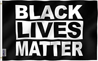 Anley Fly Breeze 3x5 Feet Black Lives Matter Flag - Vivid Color and UV Fade Resistant - BLM Flags Polyester with Brass Grommets 3 X 5 Ft