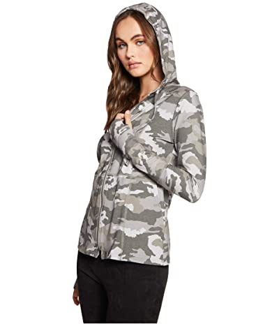 Chaser Quadrablend Seemed Long Sleeve Zip-Up Hoodie w/ Rib and Thumb (Camouflage) Women