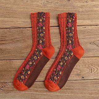 SUZNUO, 5 Pares otoño Estilo Nacional Estampado de Flores Calcetines de Mujer Harajuku calcetín Vintage Moda Femenina Invierno cálido Regalos niñas