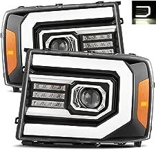 AlphaRex Polished Black Fit 07-13 GMC Sierra 1500/07-14 Sierra 2500HD/3500HD LED DRL Tube Dual Projector Headlights