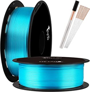 TTYT3D Shine Silk Turquoise Blue PLA 3D Printer Filament - 1.75mm 3D Printing Material 1kg 2.2lbs Spool with One Bottle of 3D Print Tool Extra Gift