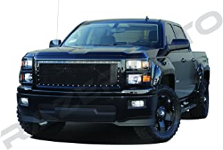 Razer Auto Gloss Black Rivet Studded Frame Mesh Grille Complete Factory Replacement Grille Shell