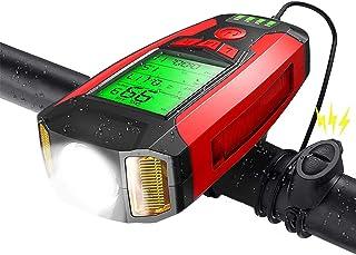 Shermosa Luz Bicicleta Delantera USB Lintera Bicicletas LED Recargable con Cuenta Kilómetros Lampara Faro Bici con Ciclocomputador con Bocina Timbre Electrico con Alarma