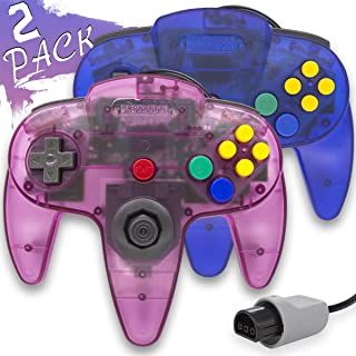 Wired Controller for Nintendo 64 N64 Console, Upgraded Joystick Classic Video Game Gamepad(1Clear Blue and Clear Purple,Pack of 2)