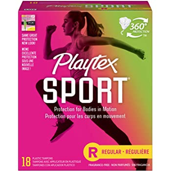 Playtex Sport Tampons with Flex-Fit Technology, Regular, Unscented - 18 Count