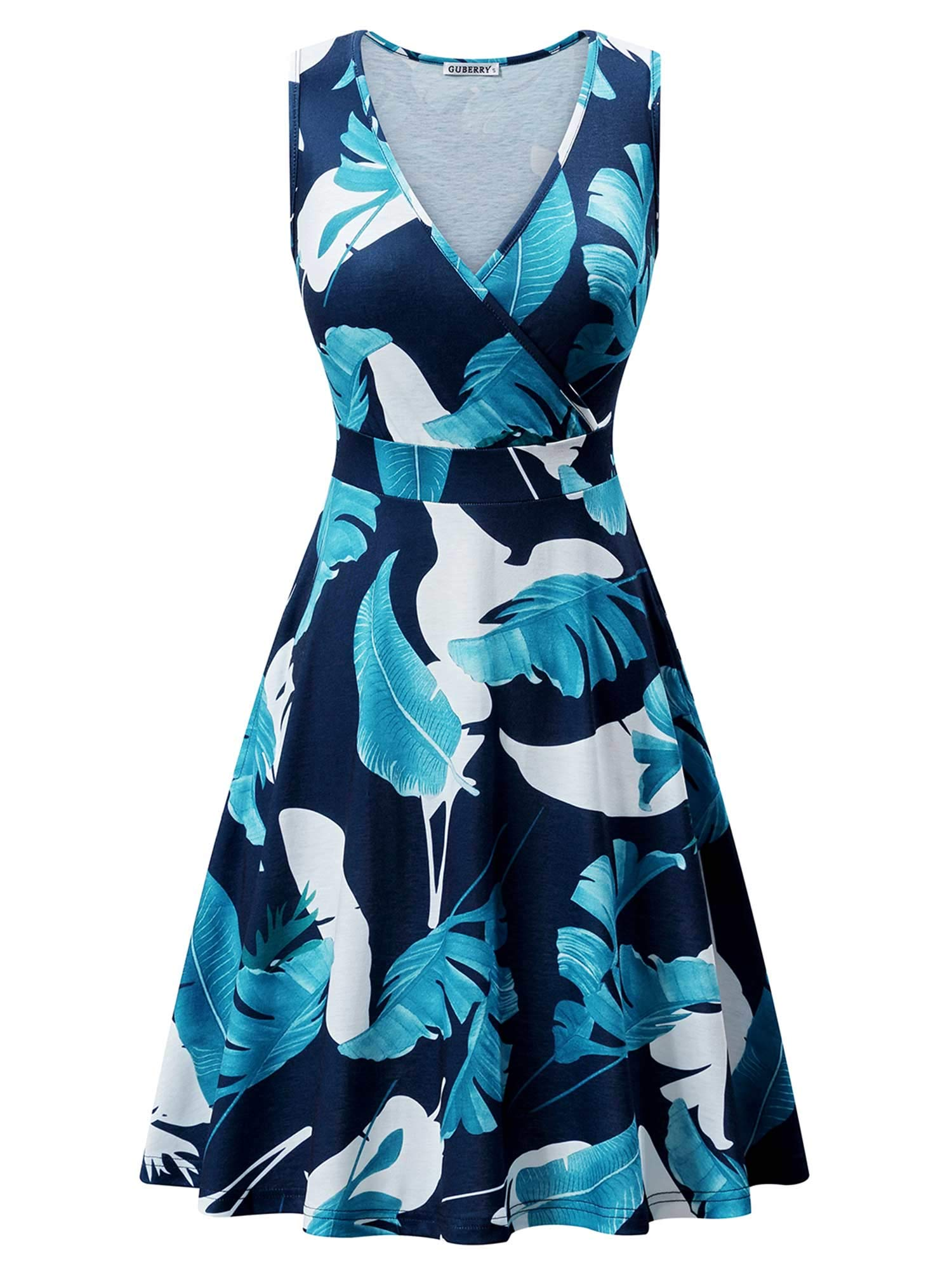 Available at Amazon: GUBERRY Women's Deep V Neck Sleeveless Cross Wrap Casual Flare Midi Tank Dress with Pockets